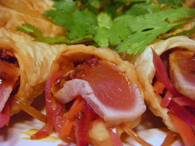 Our Asian Ahi Cone. Sweet yet spicy. One of our most popular hors d'oeuvres.